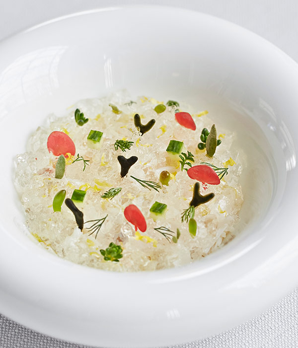 Crab and elderflower jelly